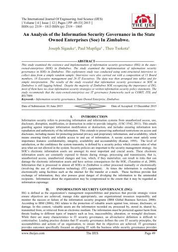 An analysis of information security governance in the universities in zimbabwe essay