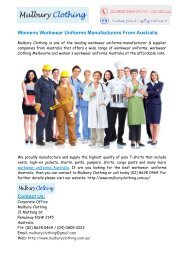 Workwear Clothing Stores Sydney, Workwear Uniforms Australia