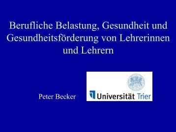 Berufliche Belastung, Gesundheit und ... - Aufsichts - Rheinland-Pfalz