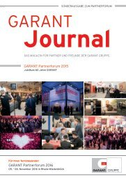 GARANT Journal - Sonderausgabe zum Partnerforum 2015