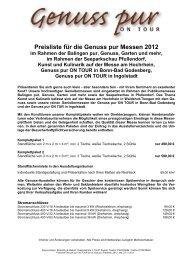 Preisliste für die Genuss pur Messen 2012 - Genuss pur ON TOUR
