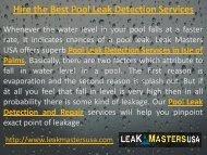 Hire the Best Pool Leak Detection Services