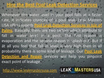 Hire the Best Pool Leak Detection Services