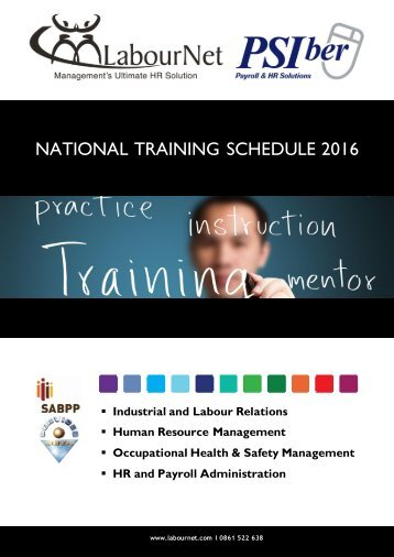 NATIONAL TRAINING SCHEDULE 2016