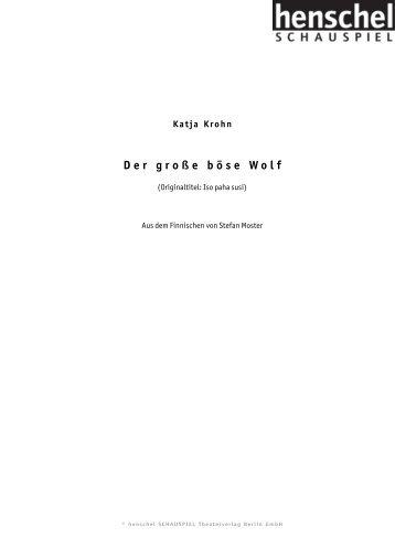 Der große böse Wolf - henschel SCHAUSPIEL Theaterverlag Berlin ...