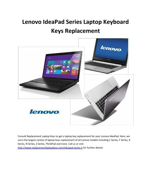 Lenovo IdeaPad Series Laptop Keyboard Keys Replacement