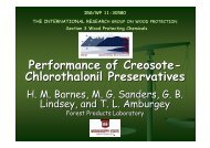 Performance of Creosote- Chlorothalonil Preservatives