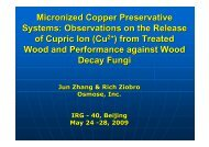 Micronized Copper Preservative Systems: Observations on the ...