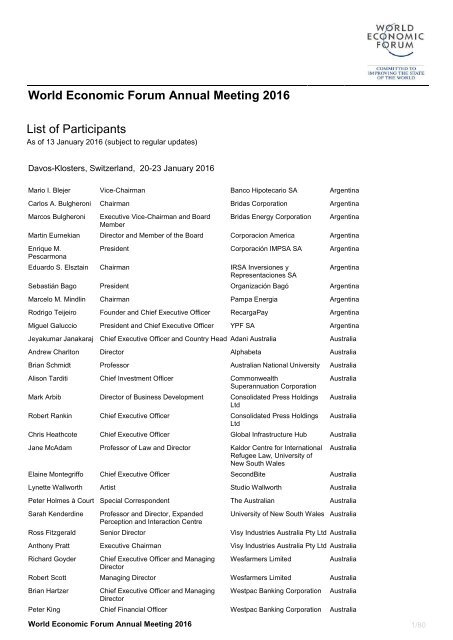 World Economic Forum Annual Meeting 2016 List Of Participants