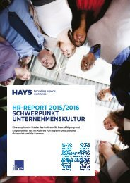 HR-REPORT 2015/2016 SCHWERPUNKT UNTERNEHMENSKULTUR