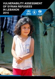 VULNERABILITY ASSESSMENT OF SYRIAN REFUGEES IN LEBANON 2015