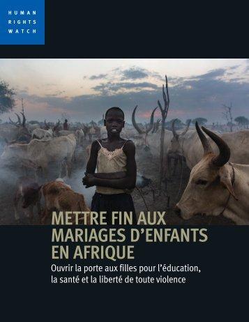 METTRE FIN AUX MARIAGES D'ENFANTS EN AFRIQUE