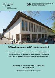 SVPW Jahreskongress / ASSP Congrès annuel 2016