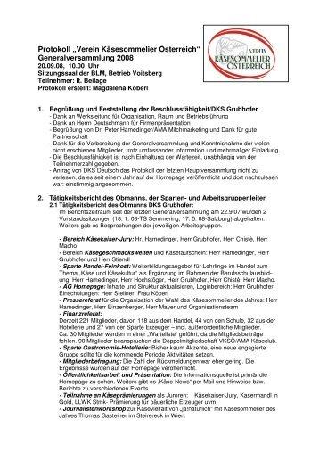 Protokoll Generalversammlung 20.09.08. - Verein Käsesommelier ...