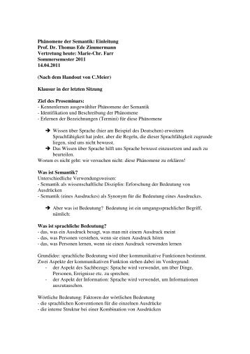 Phänomene der Semantik: Einleitung Prof. Dr. Thomas Ede ...