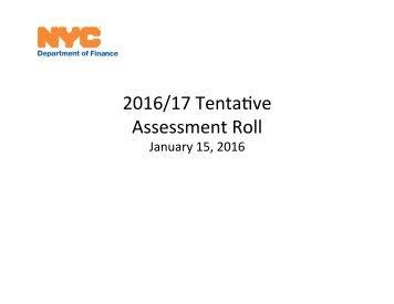 2016/17 Tenta-ve Assessment Roll