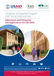 University Scholarship Program (USP VII) at AUB and LAU