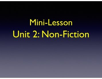 Unit 2 Non-Fiction