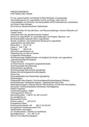 FREIZEITANGEBOTE FÜR TEENS UND TWENS ... - SPÖ Donaustadt