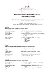 Prix Credit Suisse Jeunes Solistes 2013 Programm Halbfinal