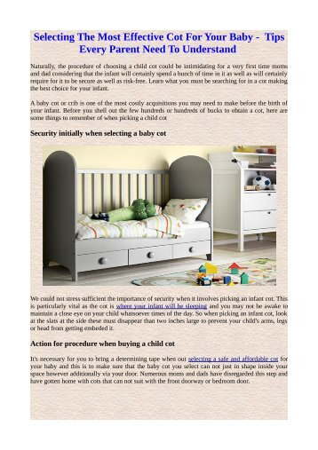 Selecting the most effective cot for your baby-- tips every parent need to understand