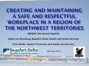 QWQHC 4th Annual Summit Stella van Rensburg, Beaufort-Delta ...