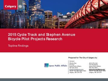 2015 Cycle Track and Stephen Avenue Bicycle Pilot Projects Research