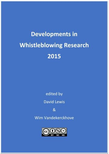 Developments in Whistleblowing Research 2015
