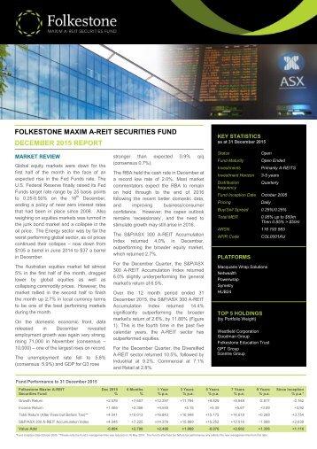 FOLKESTONE MAXIM A-REIT SECURITIES FUND DECEMBER 2015 REPORT
