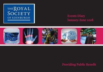 Events Diary January–June 2016 Providing Public Benefit