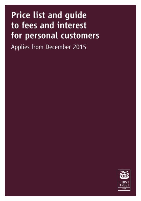Price list and guide to fees and interest for personal customers