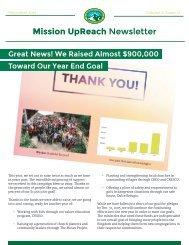Mission UpReach Newsletter - December 2015