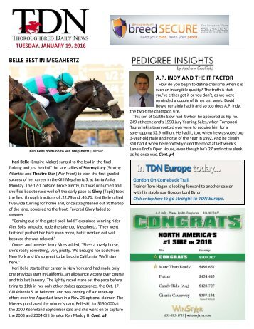 BELLE BEST IN MEGAHERTZ AP INDY AND THE IT FACTOR