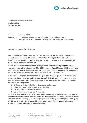 20160117 - Brief Ouders & Onderwijs tbv plenair debat 20 januari 2016 en schriftelijk overleg Eerste inzichten Eindtoets PO
