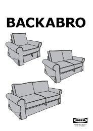 Ikea BACKABRO fodera per divano letto a 3 posti - 90260965 - Istruzioni di montaggio