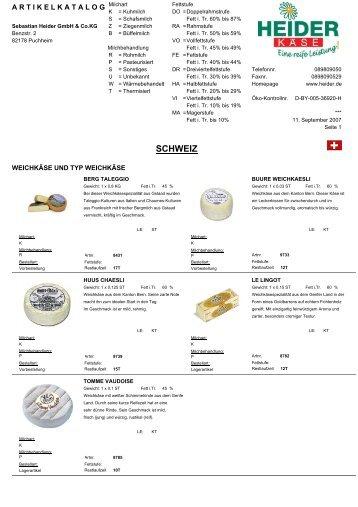 SCHWEIZ - heiderbeck Käse vom Feinsten GmbH