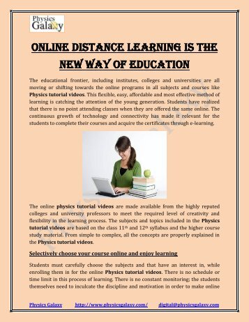 Online distance learning is the new way of education