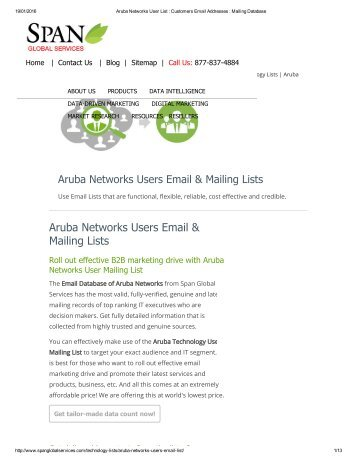 Buy Customized List of Aruba Networks companies from Span Global Services