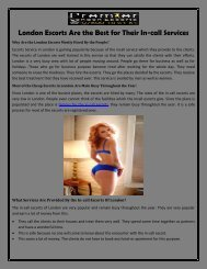 London Escorts Are the Best for Their In-call Services