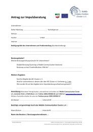 Antrag Impulsberatung - MCC-Mobile Communication Cluster