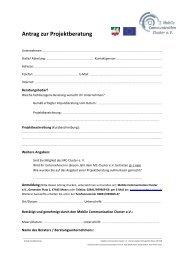 Antrag zur Projektberatung - MCC-Mobile Communication Cluster