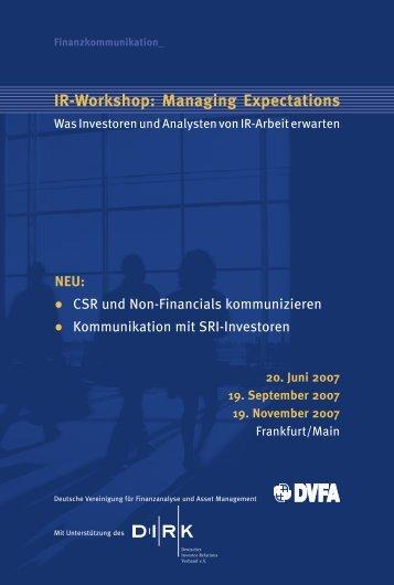 IR-Workshop: Managing Expectations - DVFA