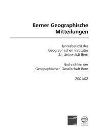 Berner Geographische Mitteilungen - Geographische Gesellschaft ...