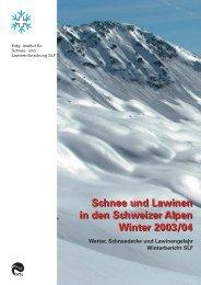 Schnee und Lawinen in den Schweizer Alpen Winter 2003/04 - SLF