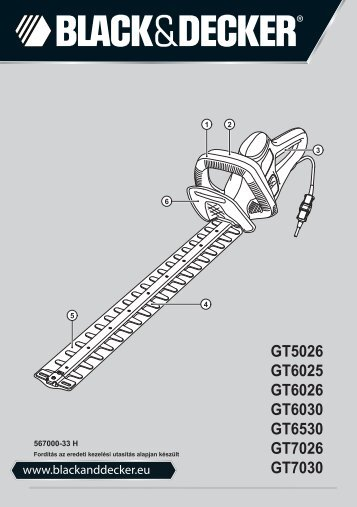 BlackandDecker Hedgetrimmer- Gt6030 - Type 1 - Instruction Manual (Ungheria)