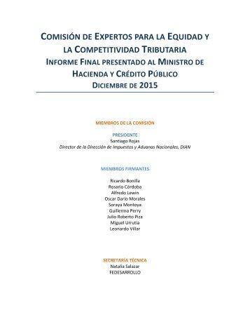 COMISIÓN EXPERTOS EQUIDAD COMPETITIVIDAD TRIBUTARIA