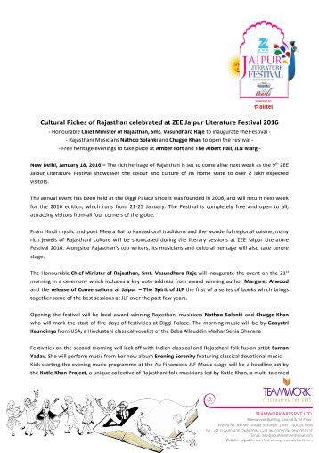 Cultural Riches of Rajasthan celebrated at ZEE Jaipur Literature Festival 2016
