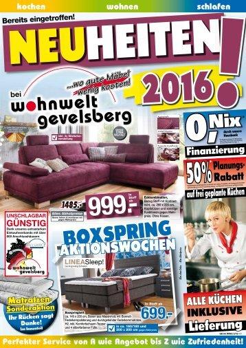 Neuheiten 2016! Boxspring-Aktionswochen!