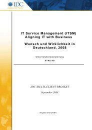 IT Service Management (ITSM) Aligning IT with Business ... - IDC