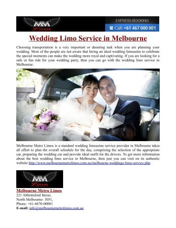 Wedding Limo Service in Melbourne